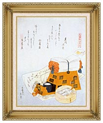 Katsushika Hokusai A Pillow And A Drawing Of A Good Luck Ship A New Years Custom canvas with gallery gold wood frame