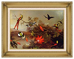 Martin Johnson Heade Tropical Landscape With Ten Hummingbirds canvas with gallery gold wood frame