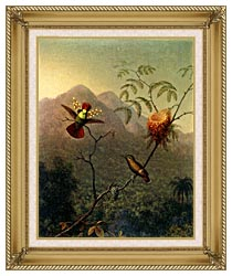 Martin Johnson Heade Tufted Coquette canvas with gallery gold wood frame