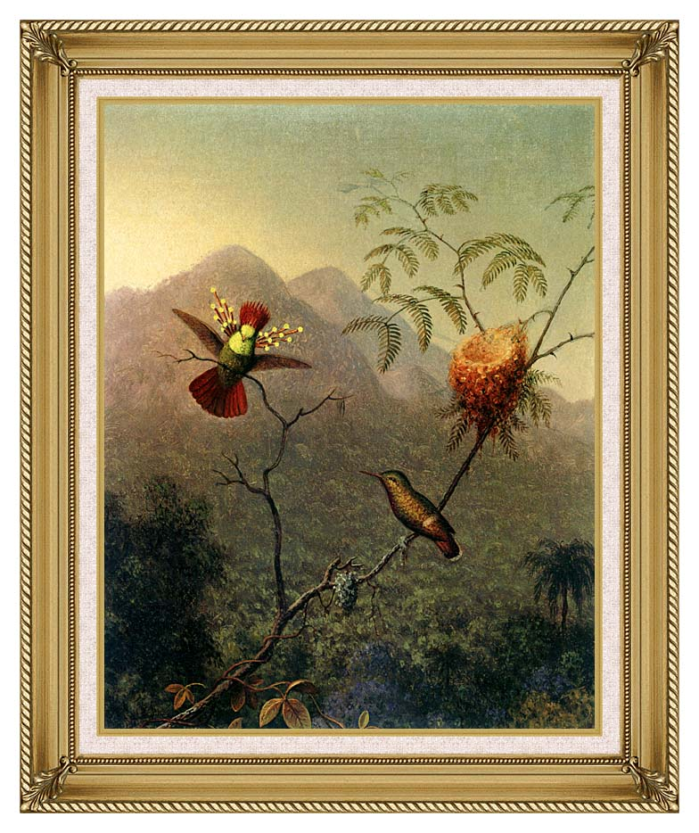 Martin Johnson Heade Tufted Coquette with Gallery Gold Frame w/Liner