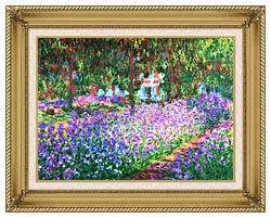 Claude Monet The Artists Garden At Giverny Detail canvas with gallery gold wood frame
