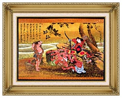 Katsushika Hokusai Tametomo And The Demons At Onigashima canvas with gallery gold wood frame