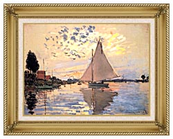 Claude Monet Sailboat At Petit Gennevilliers canvas with gallery gold wood frame