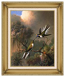 Martin Johnson Heade Two Sungems On A Branch canvas with gallery gold wood frame