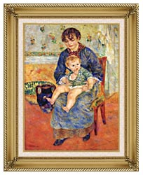 Pierre Auguste Renoir Mother And Child In A Chair canvas with gallery gold wood frame