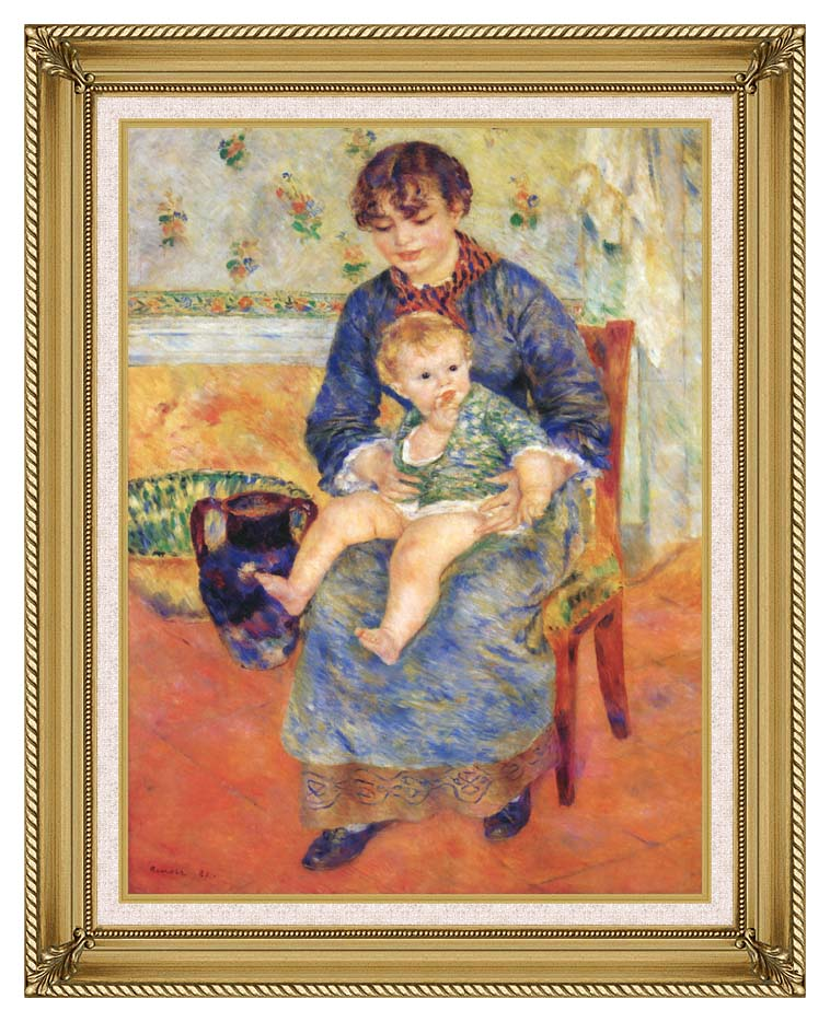 Pierre Auguste Renoir Mother and Child in a Chair with Gallery Gold Frame w/Liner
