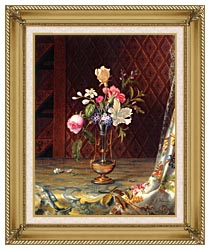 Martin Johnson Heade Vase Of Mixed Flowers canvas with gallery gold wood frame