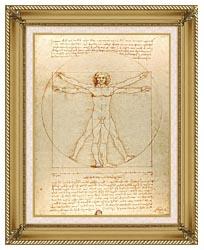 Leonardo Da Vinci Vitruvian Man canvas with gallery gold wood frame