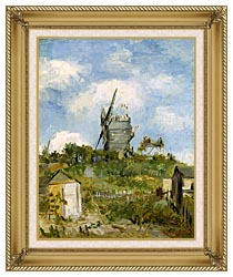 Vincent Van Gogh Blute Fin Windmill Montmartre canvas with gallery gold wood frame