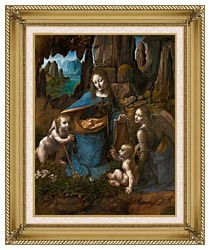 Leonardo Da Vinci Virgin Of The Rocks canvas with gallery gold wood frame