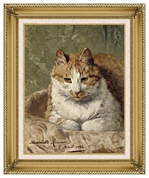 Henriette Ronner Knip Carefree Cat canvas with gallery gold wood frame