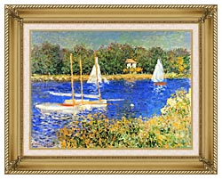 Claude Monet Sailboats At The Basin At Argenteuil canvas with gallery gold wood frame