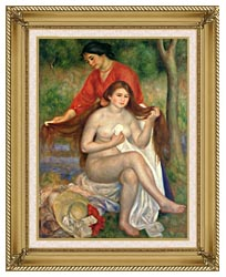 Pierre Auguste Renoir Bather And Maid canvas with gallery gold wood frame