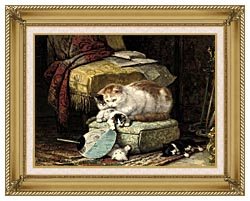 Henriette Ronner Knip A New Place To Hide canvas with gallery gold wood frame