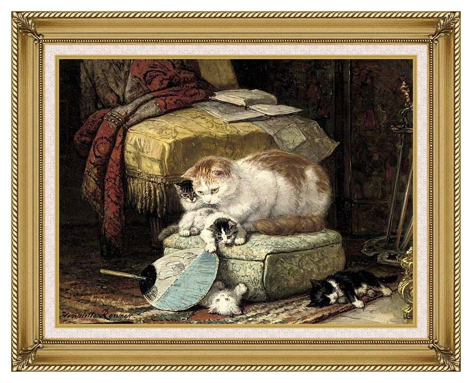 Henriette Ronner Knip A New Place to Hide with Gallery Gold Frame w/Liner