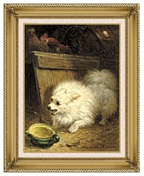 Henriette Ronner Knip In The Barn canvas with gallery gold wood frame