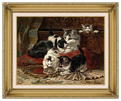 Henriette Ronner Knip Mother And Kittens Playing With A Hand Mirror canvas with gallery gold wood frame