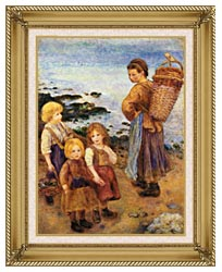 Pierre Auguste Renoir Mussel Fishers At Berneval canvas with gallery gold wood frame