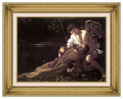 Michelangelo Merisi Da Caravaggio St Francis In Ecstasy canvas with gallery gold wood frame