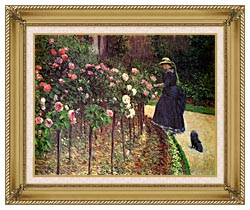 Gustave Caillebotte Roses Garden At Petit Gennevilliers canvas with gallery gold wood frame