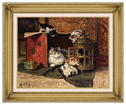 Henriette Ronner Knip A Mother Cat Watching Her Kittens Playing canvas with gallery gold wood frame