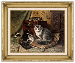 Henriette Ronner Knip A Cat And Her Kittens At Play canvas with gallery gold wood frame