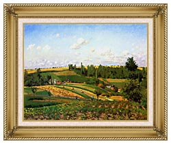 Camille Pissarro Harvest Landscape At Pontoise canvas with gallery gold wood frame