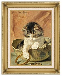 Henriette Ronner Knip A Kitten Playing With Jewelry canvas with gallery gold wood frame