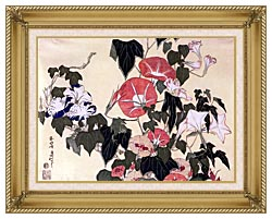 Katsushika Hokusai Morning Glories And Tree Frog canvas with gallery gold wood frame
