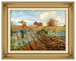 Camille Pissarro Hoarfrost canvas with gallery gold wood frame