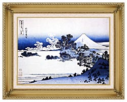 Katsushika Hokusai Fuji Seen From Shichirigahama Beach In The Sagami Province canvas with gallery gold wood frame