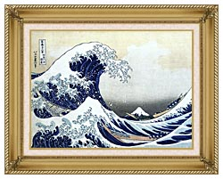 Katsushika Hokusai The Great Wave At Kanagawa canvas with gallery gold wood frame