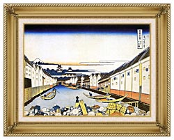 Katsushika Hokusai Mount Fuji And Edo Castle Seen From Nihonbashi canvas with gallery gold wood frame
