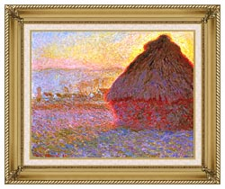 Claude Monet The Grainstack Sunset canvas with gallery gold wood frame