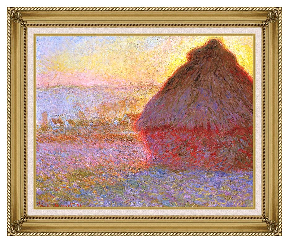 Claude Monet The Grainstack, Sunset with Gallery Gold Frame w/Liner