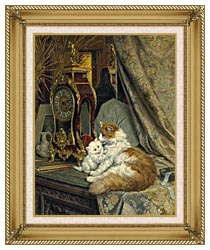 Henriette Ronner Knip A Mother Cat And Her Kitten With A Bracket Clock canvas with gallery gold wood frame