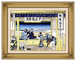 Katsushika Hokusai People Admiring Mount Fuji From A Tearoom At Yoshida canvas with gallery gold wood frame