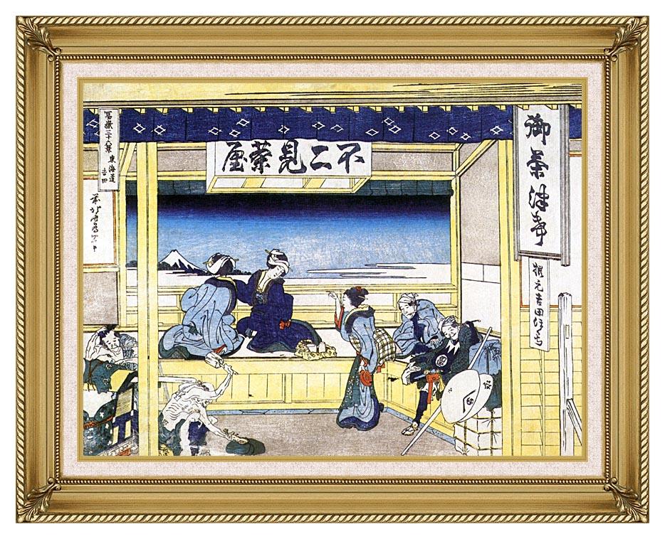 Katsushika Hokusai People Admiring Mount Fuji from a Tearoom at Yoshida with Gallery Gold Frame w/Liner