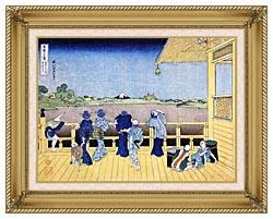 Katsushika Hokusai People On The Balcony Of The Gohyaku Rakan Temple canvas with gallery gold wood frame