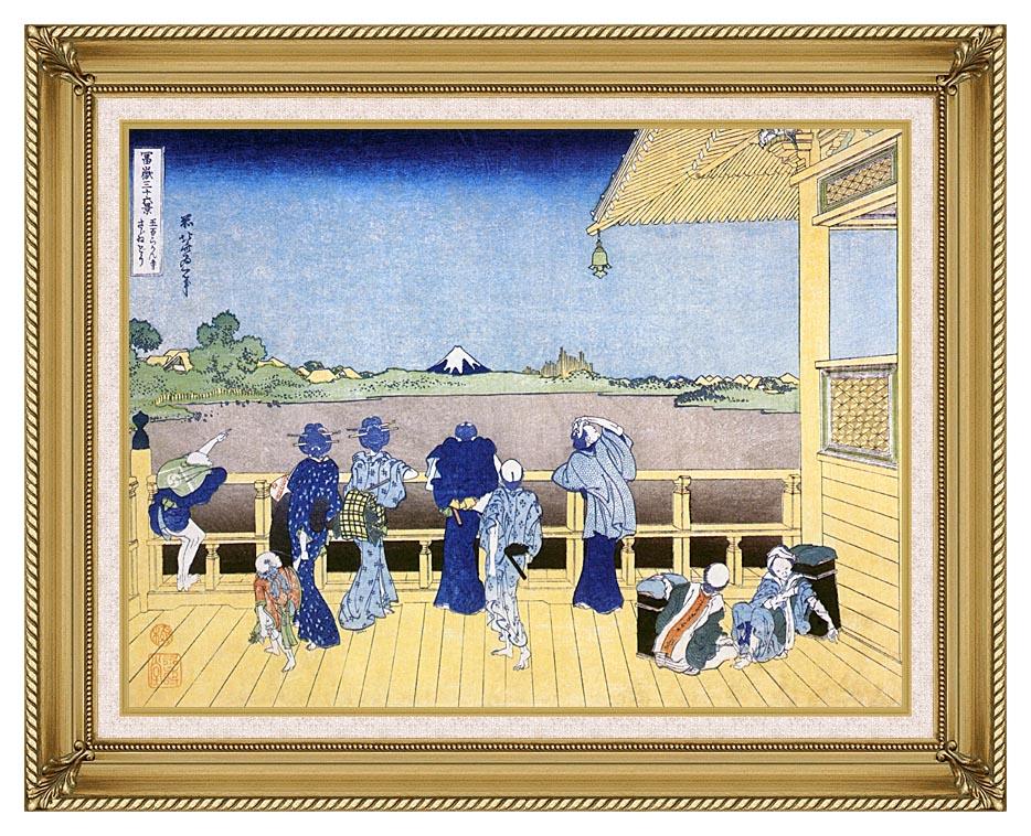Katsushika Hokusai People on the Balcony of the Gohyaku Rakan Temple with Gallery Gold Frame w/Liner