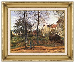 Camille Pissarro Landscape At Louveciennes canvas with gallery gold wood frame