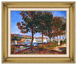 Pierre Auguste Renoir Bridge At Argenteuil canvas with gallery gold wood frame