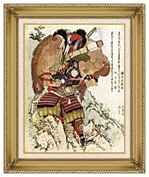 Katsushika Hokusai The Warrior Hatakeyama Shigetada Carrying His Horse Down The Hill After It Had Been Injured canvas with gallery gold wood frame