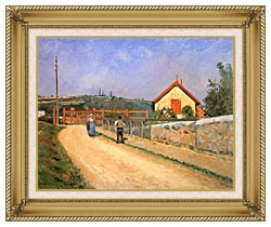 Camille Pissarro Railway Crossing At Patis Near Pontoise canvas with gallery gold wood frame