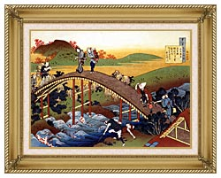 Katsushika Hokusai Travelers On The Bridge Near The Ono Waterfall On The Kisokaido Road canvas with gallery gold wood frame