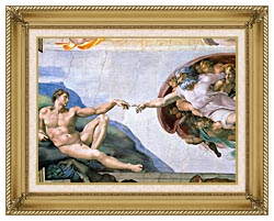 Michelangelo Buonarroti The Creation Of Adam canvas with gallery gold wood frame