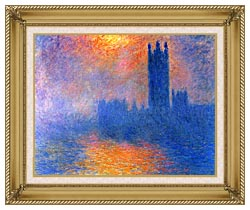 Claude Monet Houses Of Parliament London Sun Breaking Through The Fog canvas with gallery gold wood frame