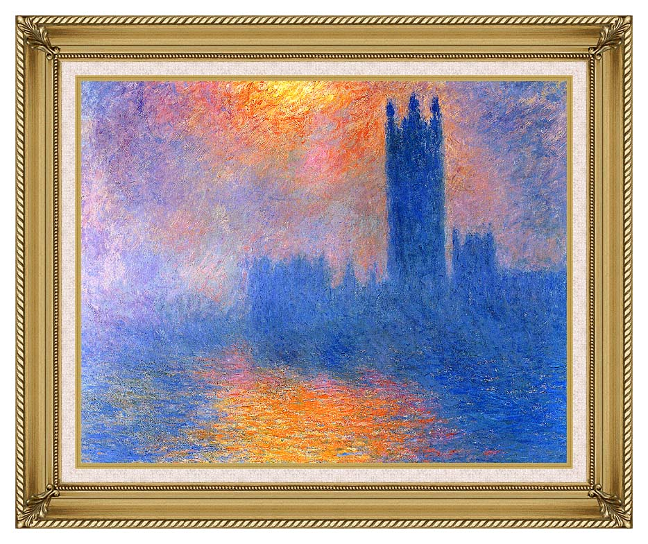 Claude Monet Houses of Parliament, London, Sun Breaking Through the Fog with Gallery Gold Frame w/Liner