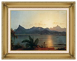 Martin Johnson Heade Sunset Harbor At Rio De Janeiro Detail canvas with gallery gold wood frame