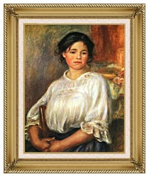 Pierre Auguste Renoir Young Girl Seated canvas with gallery gold wood frame